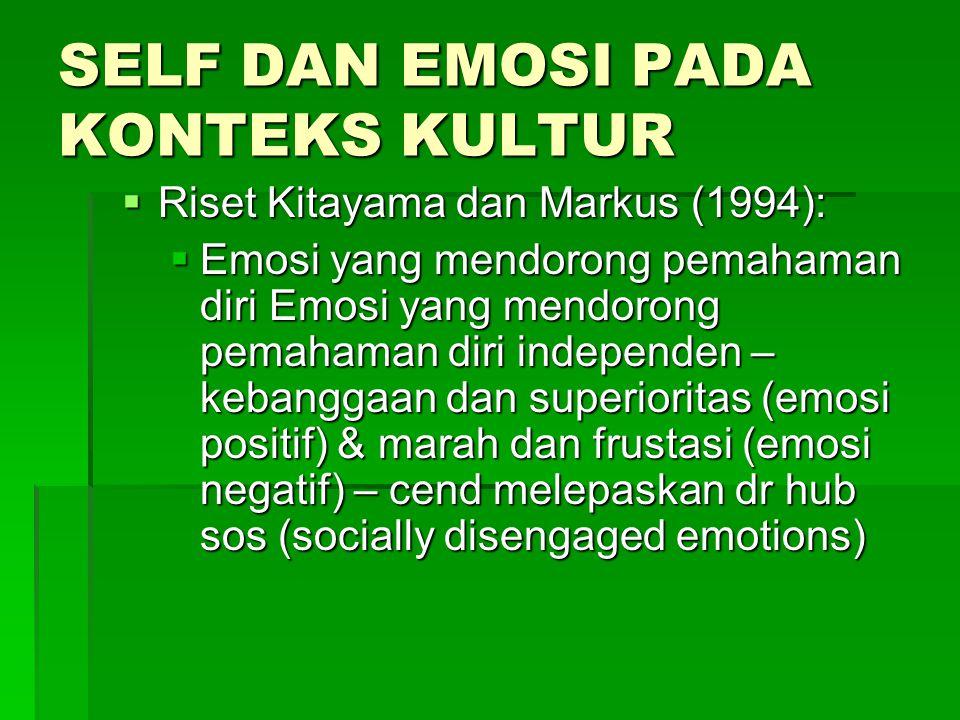 SELF DAN EMOSI PADA KONTEKS KULTUR  Riset Kitayama dan Markus (1994):  Emosi yang mendorong pemahaman diri Emosi yang mendorong pemahaman diri independen – kebanggaan dan superioritas (emosi positif) & marah dan frustasi (emosi negatif) – cend melepaskan dr hub sos (socially disengaged emotions)