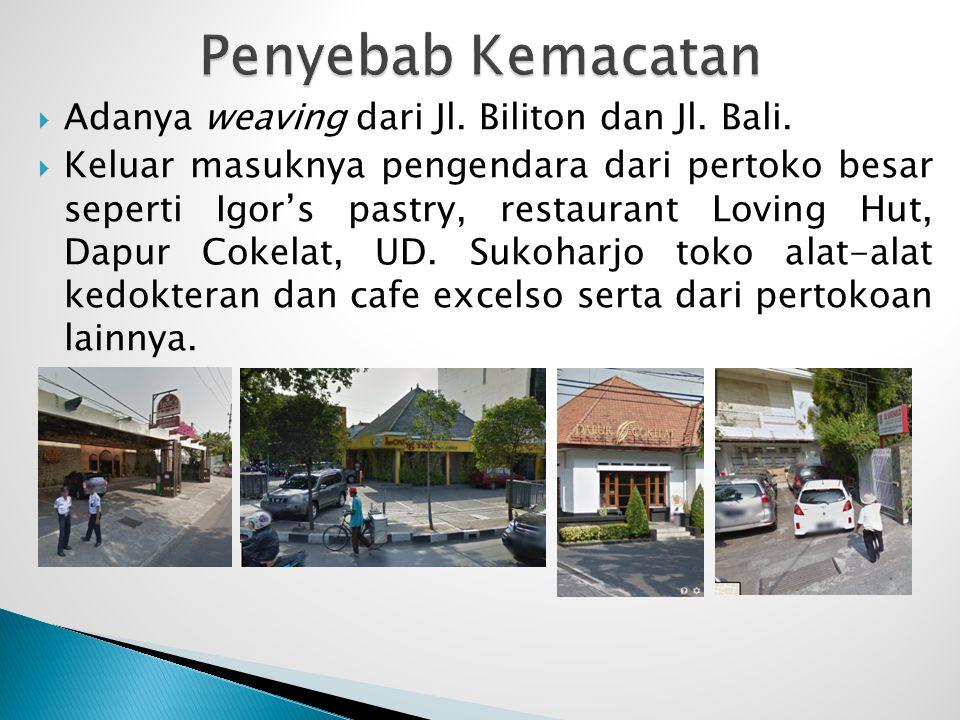  Adanya weaving dari Jl. Biliton dan Jl. Bali.