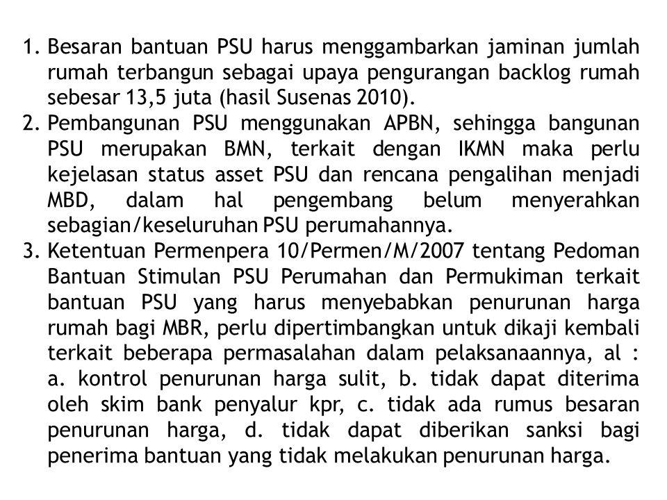 1.Besaran bantuan PSU harus menggambarkan jaminan jumlah rumah terbangun sebagai upaya pengurangan backlog rumah sebesar 13,5 juta (hasil Susenas 2010
