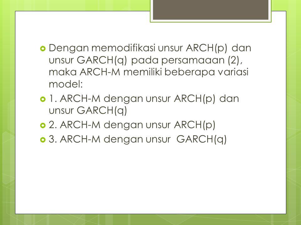  Dengan memodifikasi unsur ARCH(p) dan unsur GARCH(q) pada persamaaan (2), maka ARCH-M memiliki beberapa variasi model:  1. ARCH-M dengan unsur ARCH