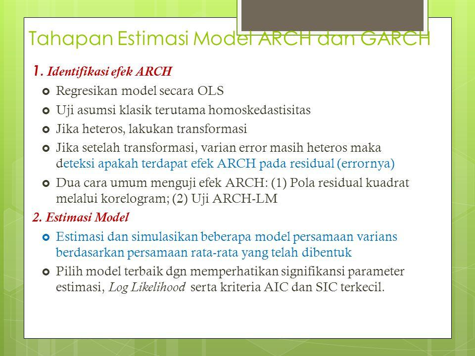 Tahapan Estimasi Model ARCH dan GARCH 1. Identifikasi efek ARCH  Regresikan model secara OLS  Uji asumsi klasik terutama homoskedastisitas  Jika he