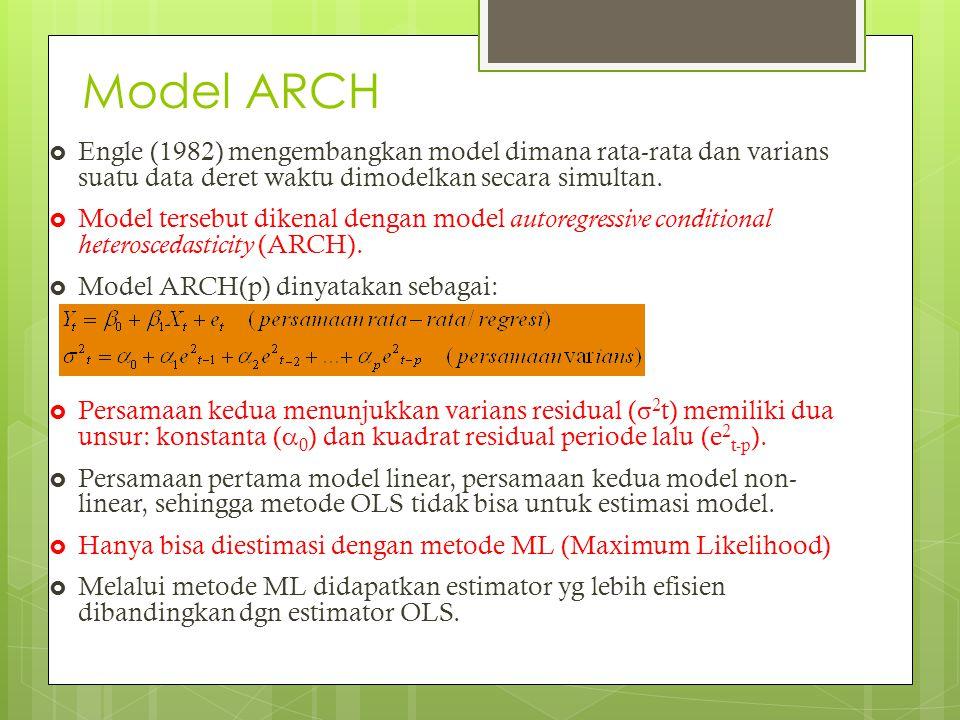 Model ARCH  Engle (1982) mengembangkan model dimana rata-rata dan varians suatu data deret waktu dimodelkan secara simultan.  Model tersebut dikenal