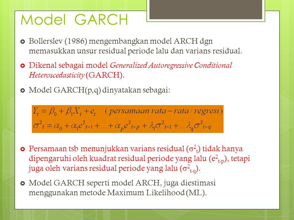 Model GARCH  Bollerslev (1986) mengembangkan model ARCH dgn memasukkan unsur residual periode lalu dan varians residual.  Dikenal sebagai model Gene