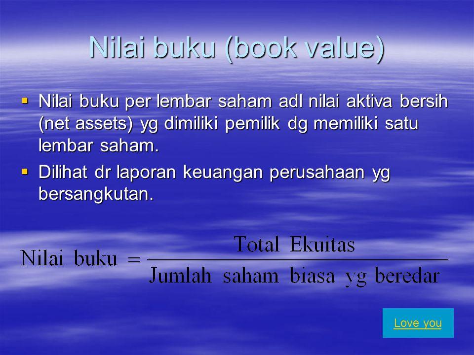 Nilai pasar (Market value)  Harga saham di bursa saham pd saat tertentu.