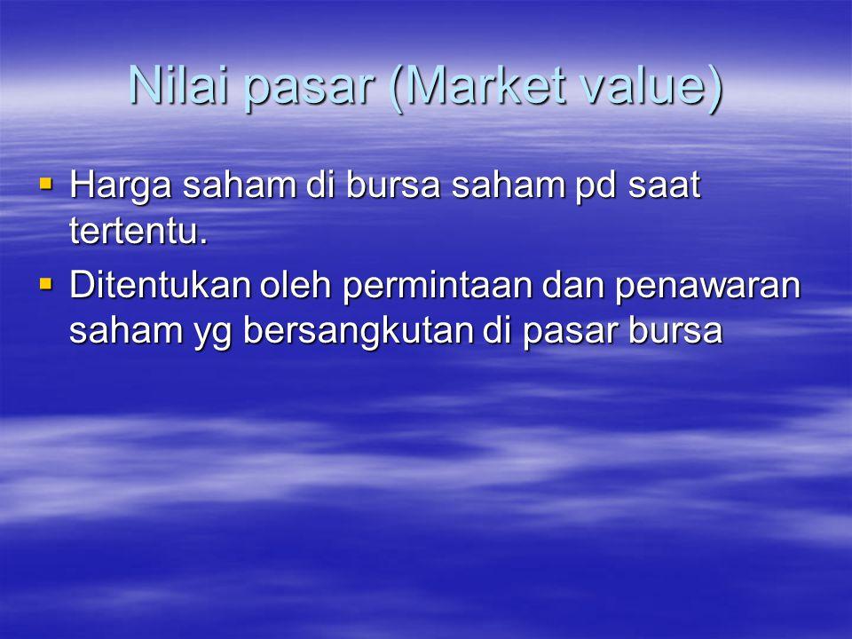 Nilai instrinsik (Intrinsic value / Fundamental value)  Nilai sebenarnya/ seharusnya dr suatu saham.