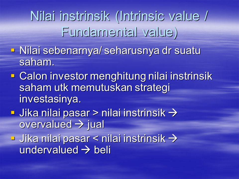 Menentukan nilai instrinsik  Analisis fundamental  menghitung nilai instrinsik menggunakan data keuangan perusahaan  Analisis teknikal  menghitung nilai instrinsik dr data perdagangan saham (harga dan volumen penjualan) yg telah lalu.