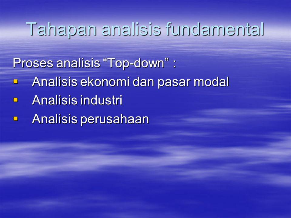 Tahapan analisis fundamental Proses analisis Top-down :  Analisis ekonomi dan pasar modal  Analisis industri  Analisis perusahaan