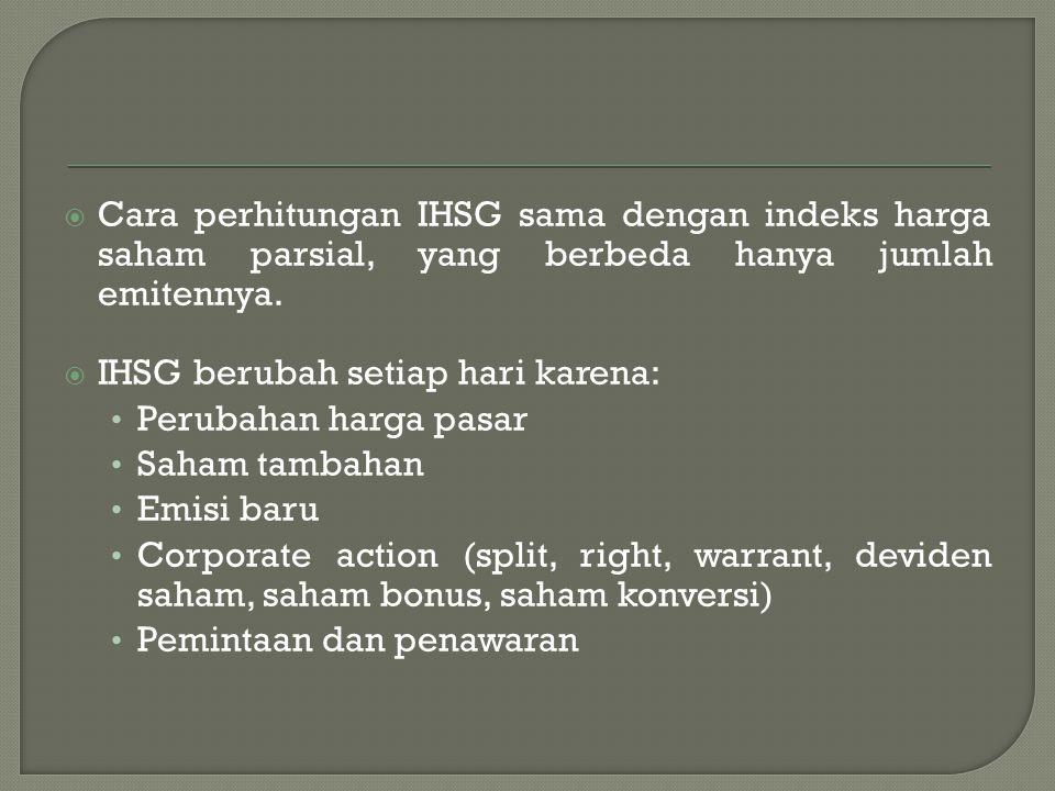  Cara perhitungan IHSG sama dengan indeks harga saham parsial, yang berbeda hanya jumlah emitennya.