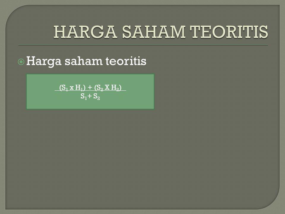  Harga saham teoritis (S 1 x H 1 ) + (S 2 X H 2 ) S 1 + S 2
