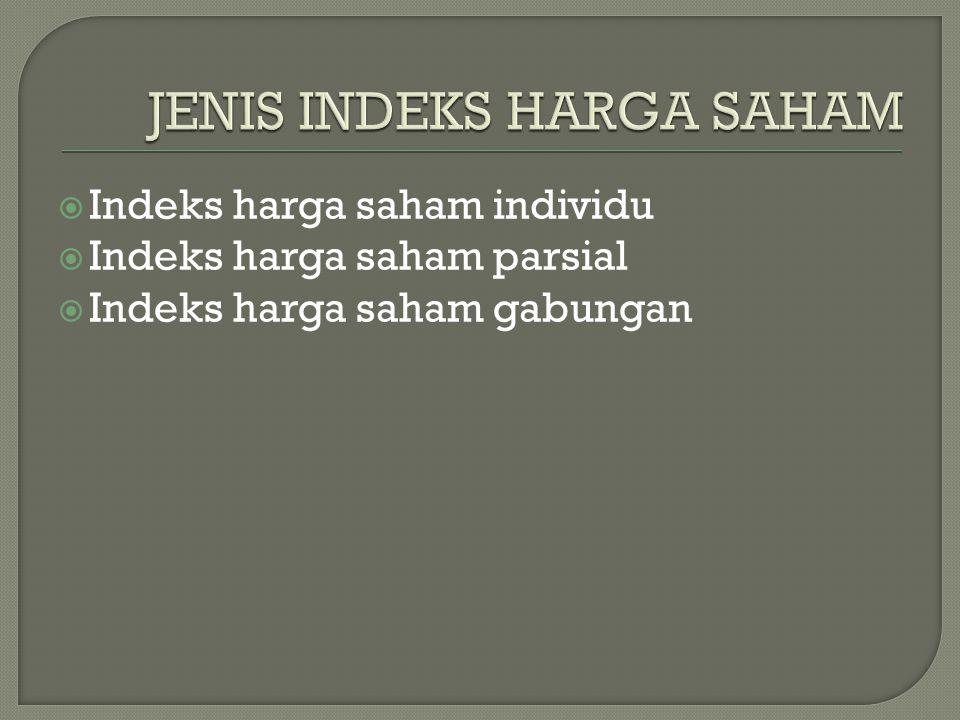  Indeks harga saham individu  Indeks harga saham parsial  Indeks harga saham gabungan