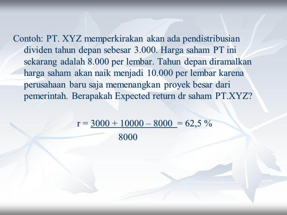 Contoh: PT. XYZ memperkirakan akan ada pendistribusian dividen tahun depan sebesar 3.000. Harga saham PT ini sekarang adalah 8.000 per lembar. Tahun d