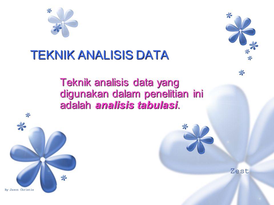 TEKNIK ANALISIS DATA Teknik analisis data yang digunakan dalam penelitian ini adalah analisis tabulasi.