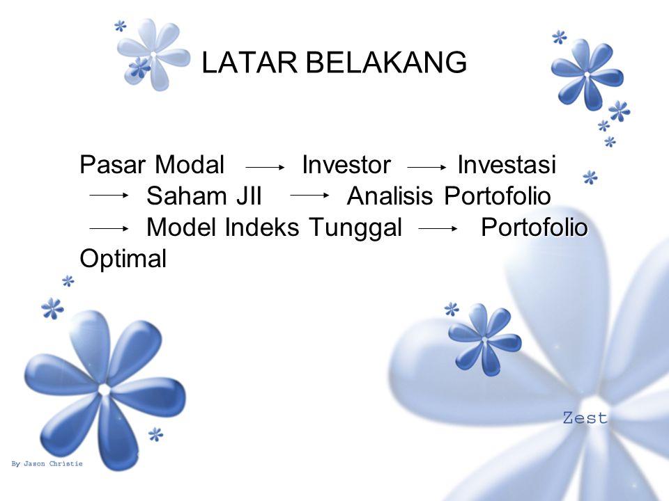 LATAR BELAKANG Pasar Modal Investor Investasi Saham JIIAnalisis Portofolio Model Indeks TunggalPortofolio Optimal