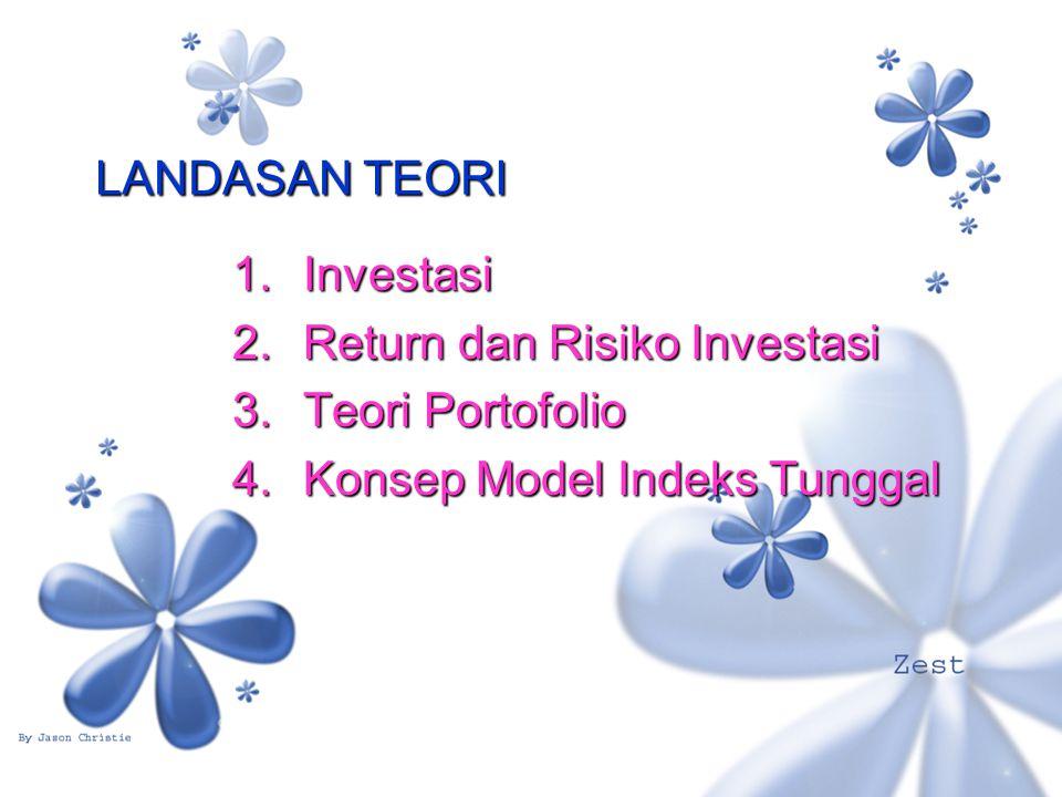 LANDASAN TEORI 1.Investasi 2.Return dan Risiko Investasi 3.Teori Portofolio 4.Konsep Model Indeks Tunggal