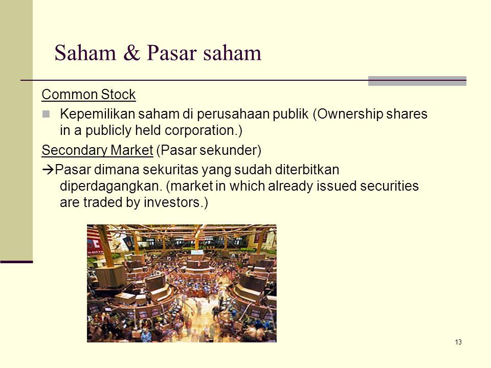 13 Saham & Pasar saham Common Stock Kepemilikan saham di perusahaan publik (Ownership shares in a publicly held corporation.) Secondary Market (Pasar