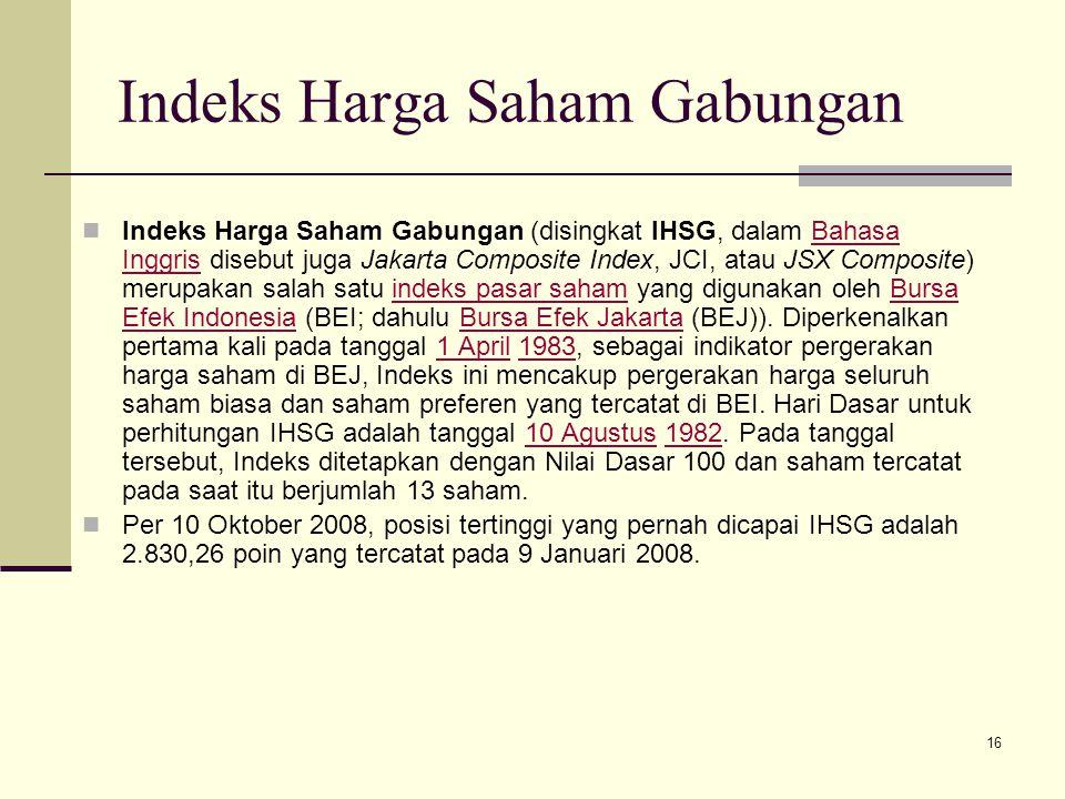 16 Indeks Harga Saham Gabungan Indeks Harga Saham Gabungan (disingkat IHSG, dalam Bahasa Inggris disebut juga Jakarta Composite Index, JCI, atau JSX C