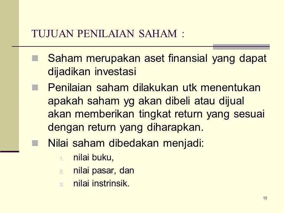 19 TUJUAN PENILAIAN SAHAM : Saham merupakan aset finansial yang dapat dijadikan investasi Penilaian saham dilakukan utk menentukan apakah saham yg aka