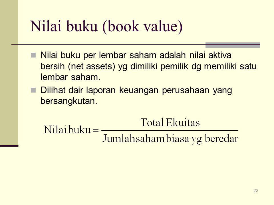 20 Nilai buku (book value) Nilai buku per lembar saham adalah nilai aktiva bersih (net assets) yg dimiliki pemilik dg memiliki satu lembar saham. Dili