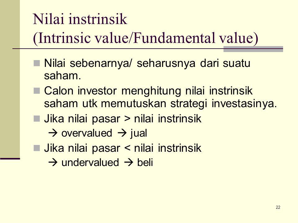 22 Nilai instrinsik (Intrinsic value/Fundamental value) Nilai sebenarnya/ seharusnya dari suatu saham. Calon investor menghitung nilai instrinsik saha