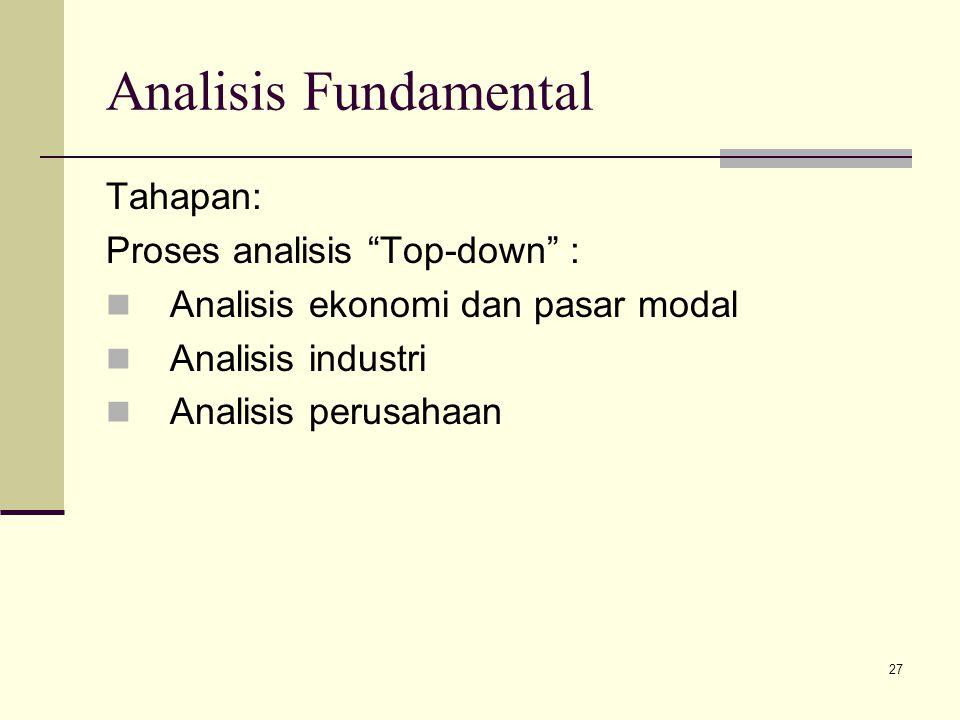"""27 Analisis Fundamental Tahapan: Proses analisis """"Top-down"""" : Analisis ekonomi dan pasar modal Analisis industri Analisis perusahaan"""