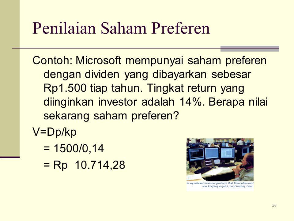 36 Penilaian Saham Preferen Contoh: Microsoft mempunyai saham preferen dengan dividen yang dibayarkan sebesar Rp1.500 tiap tahun. Tingkat return yang
