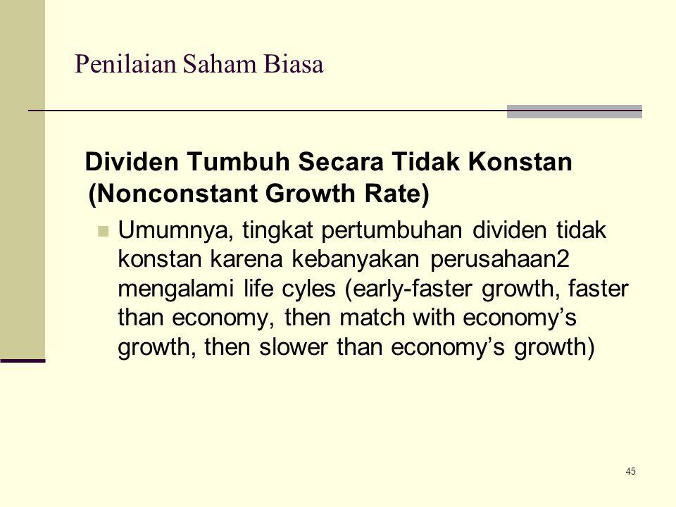 45 Penilaian Saham Biasa Dividen Tumbuh Secara Tidak Konstan (Nonconstant Growth Rate) Umumnya, tingkat pertumbuhan dividen tidak konstan karena keban