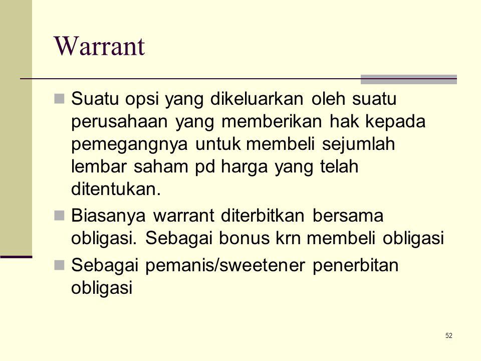 52 Warrant Suatu opsi yang dikeluarkan oleh suatu perusahaan yang memberikan hak kepada pemegangnya untuk membeli sejumlah lembar saham pd harga yang