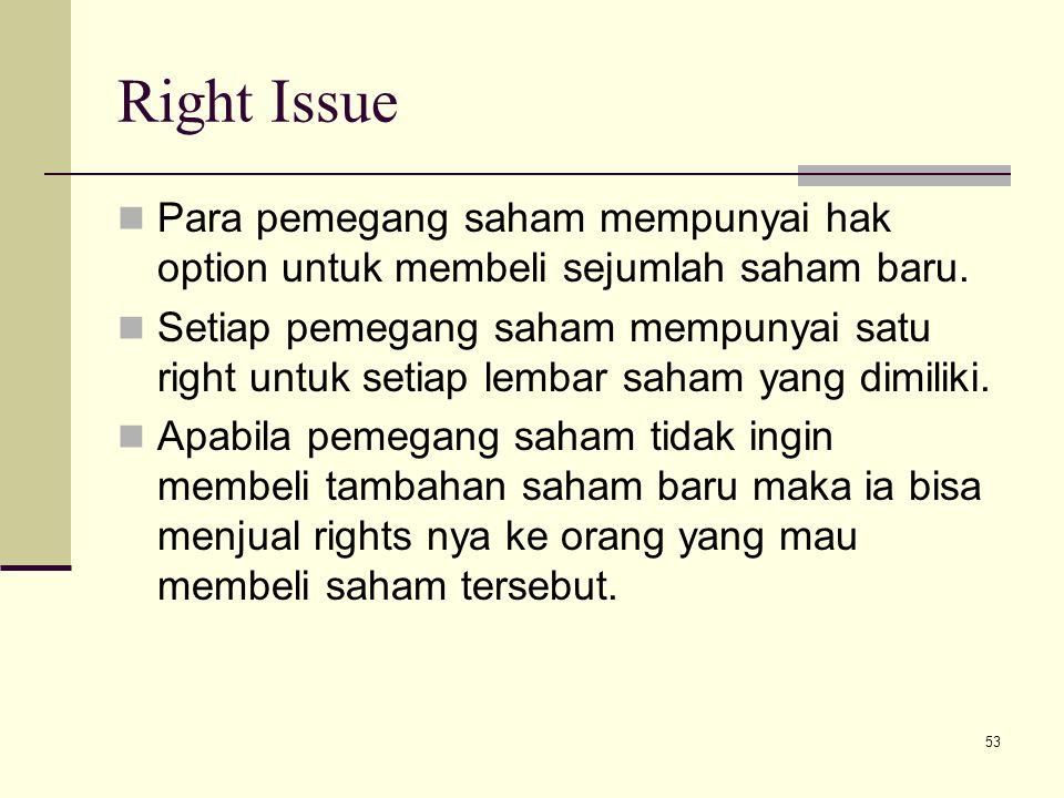 53 Right Issue Para pemegang saham mempunyai hak option untuk membeli sejumlah saham baru. Setiap pemegang saham mempunyai satu right untuk setiap lem