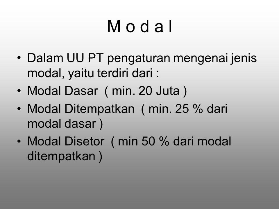 M o d a l Dalam UU PT pengaturan mengenai jenis modal, yaitu terdiri dari : Modal Dasar ( min.