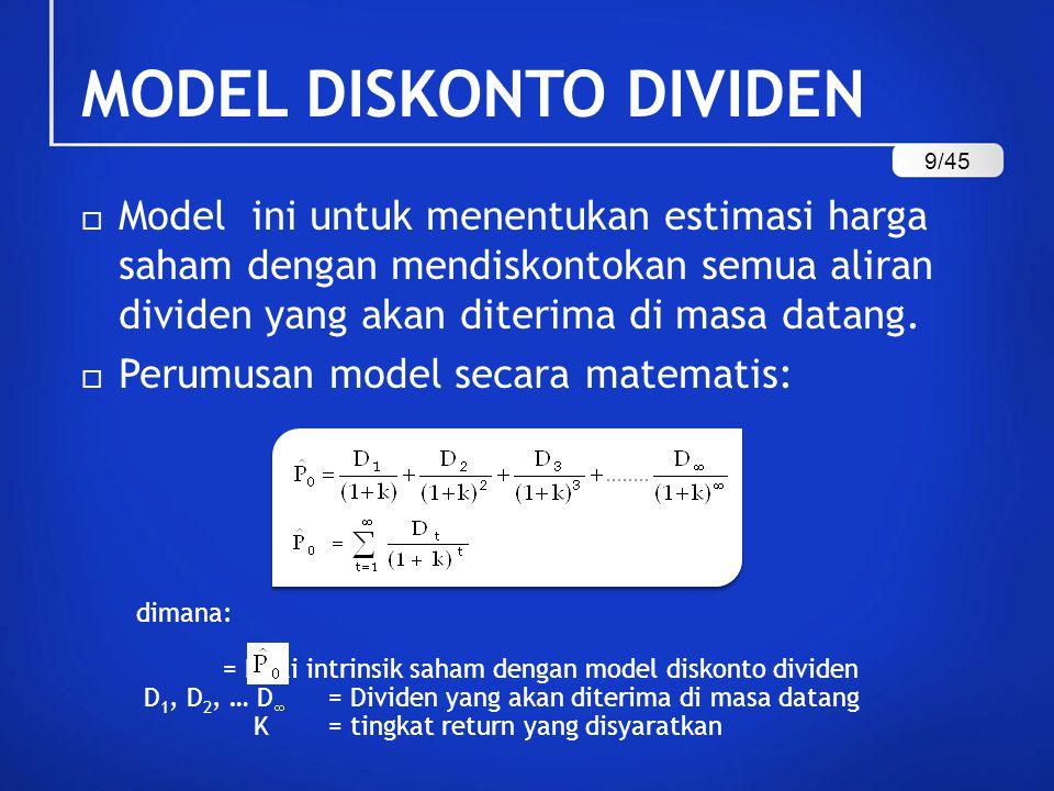 = Nilai intrinsik saham dengan model diskonto dividen D 1, D 2, … D  = Dividen yang akan diterima di masa datang K= tingkat return yang disyaratkan  Model ini untuk menentukan estimasi harga saham dengan mendiskontokan semua aliran dividen yang akan diterima di masa datang.