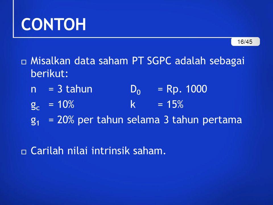 CONTOH  Misalkan data saham PT SGPC adalah sebagai berikut: n = 3 tahunD 0 = Rp.