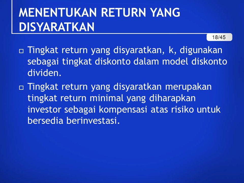 MENENTUKAN RETURN YANG DISYARATKAN  Tingkat return yang disyaratkan, k, digunakan sebagai tingkat diskonto dalam model diskonto dividen.