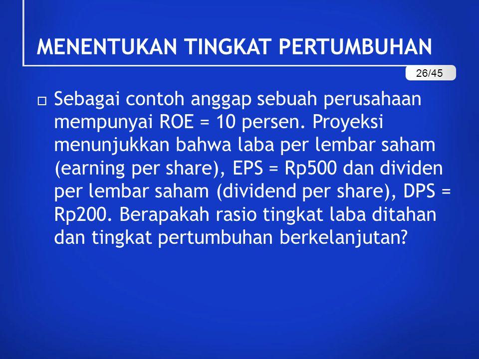  Sebagai contoh anggap sebuah perusahaan mempunyai ROE = 10 persen.