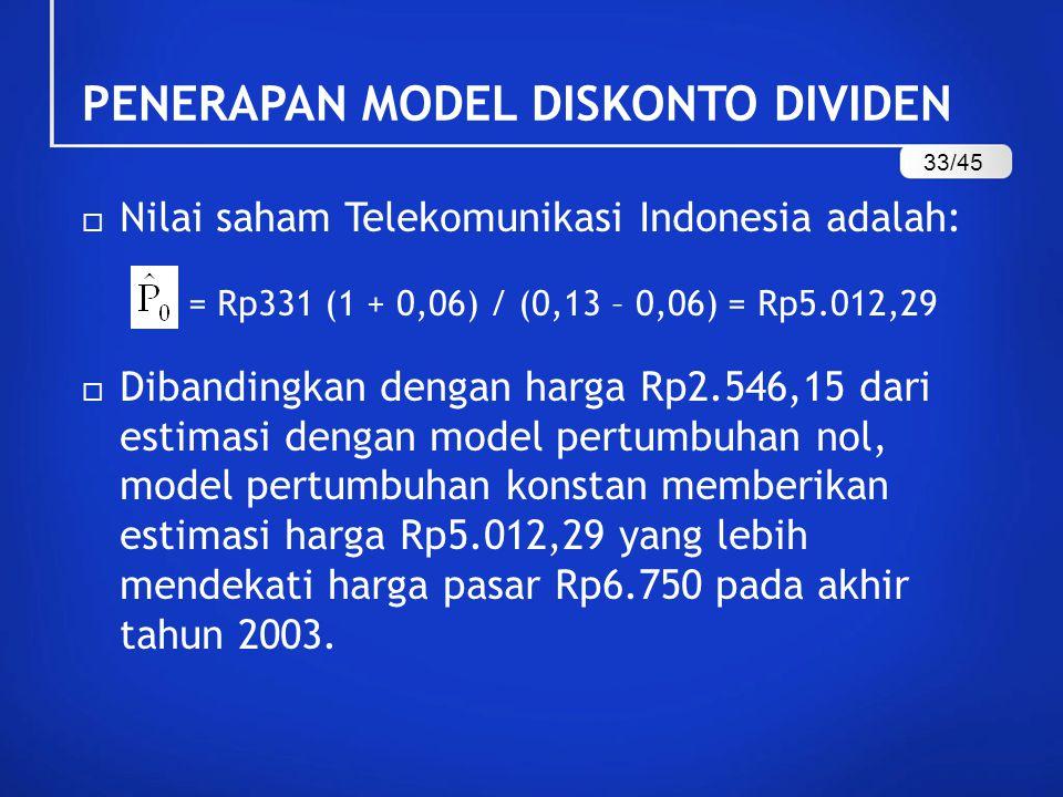  Nilai saham Telekomunikasi Indonesia adalah: = Rp331 (1 + 0,06) / (0,13 – 0,06) = Rp5.012,29  Dibandingkan dengan harga Rp2.546,15 dari estimasi dengan model pertumbuhan nol, model pertumbuhan konstan memberikan estimasi harga Rp5.012,29 yang lebih mendekati harga pasar Rp6.750 pada akhir tahun 2003.