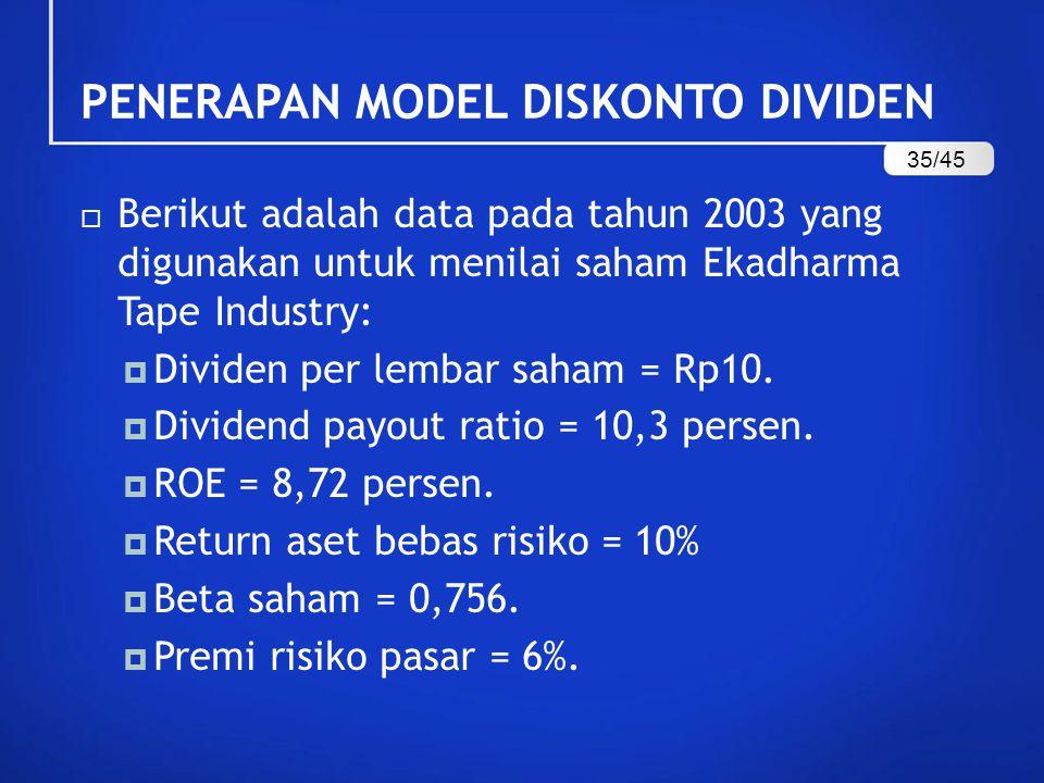  Berikut adalah data pada tahun 2003 yang digunakan untuk menilai saham Ekadharma Tape Industry:  Dividen per lembar saham = Rp10.