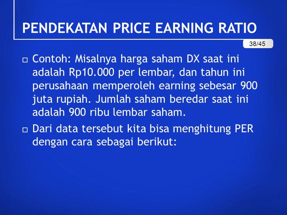  Contoh: Misalnya harga saham DX saat ini adalah Rp10.000 per lembar, dan tahun ini perusahaan memperoleh earning sebesar 900 juta rupiah.