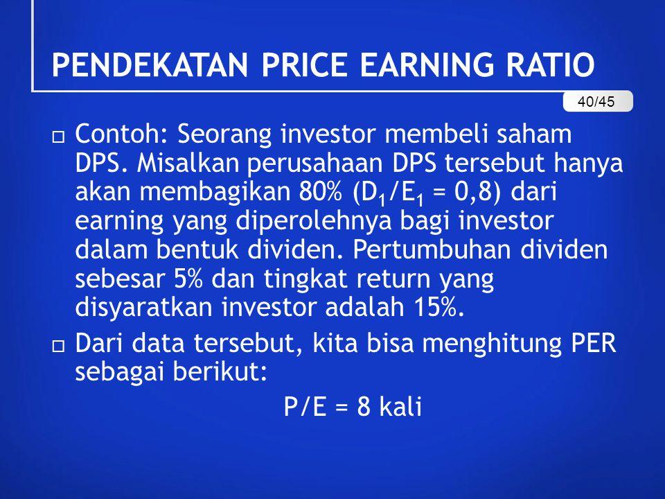 Contoh: Seorang investor membeli saham DPS.