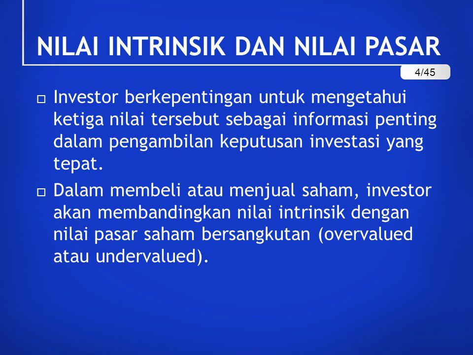 NILAI INTRINSIK DAN NILAI PASAR  Investor berkepentingan untuk mengetahui ketiga nilai tersebut sebagai informasi penting dalam pengambilan keputusan investasi yang tepat.