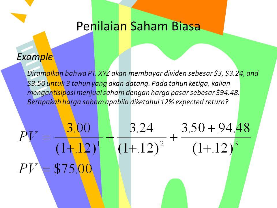 Penilaian Saham Biasa Example Diramalkan bahwa PT. XYZ akan membayar dividen sebesar $3, $3.24, and $3.50 untuk 3 tahun yang akan datang. Pada tahun k