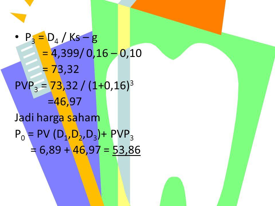 P 3 = D 4 / Ks – g = 4,399/ 0,16 – 0,10 = 73,32 PVP 3 = 73,32 / (1+0,16) 3 =46,97 Jadi harga saham P 0 = PV (D 1,D 2,D 3 )+ PVP 3 = 6,89 + 46,97 = 53,