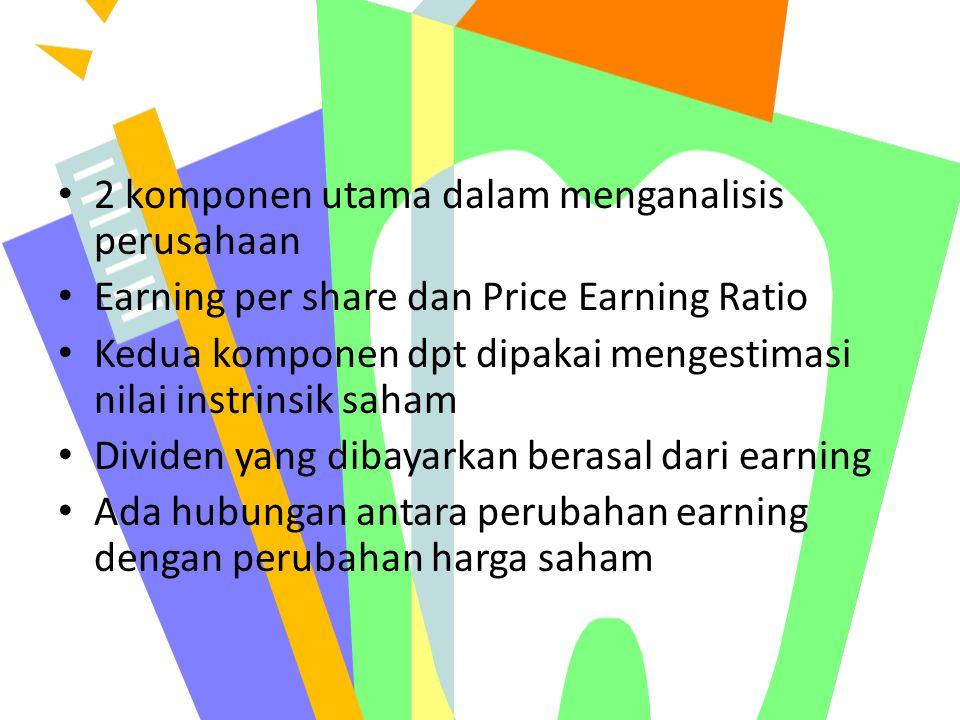 2 komponen utama dalam menganalisis perusahaan Earning per share dan Price Earning Ratio Kedua komponen dpt dipakai mengestimasi nilai instrinsik saha