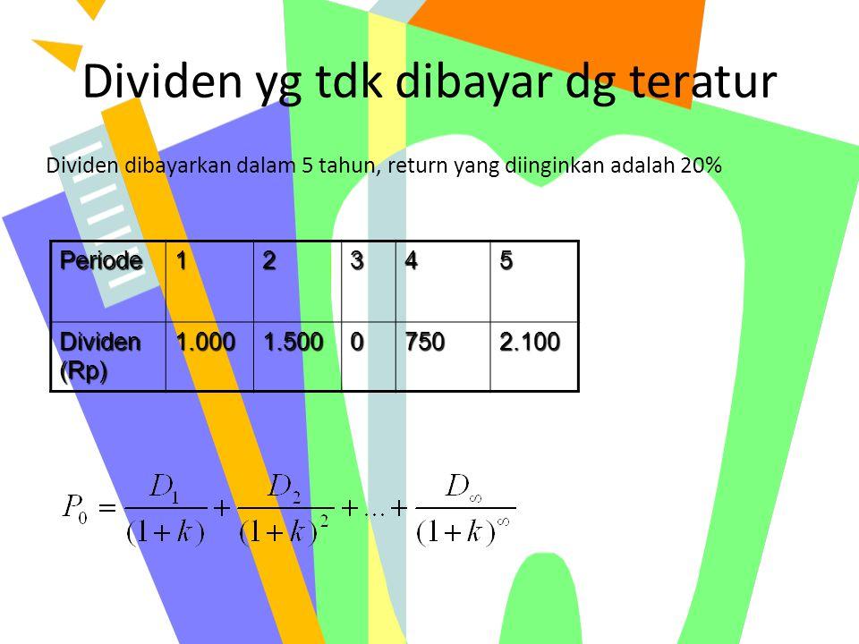 Dividen yg tdk dibayar dg teratur Periode12345 Dividen (Rp) 1.0001.50007502.100 Dividen dibayarkan dalam 5 tahun, return yang diinginkan adalah 20%