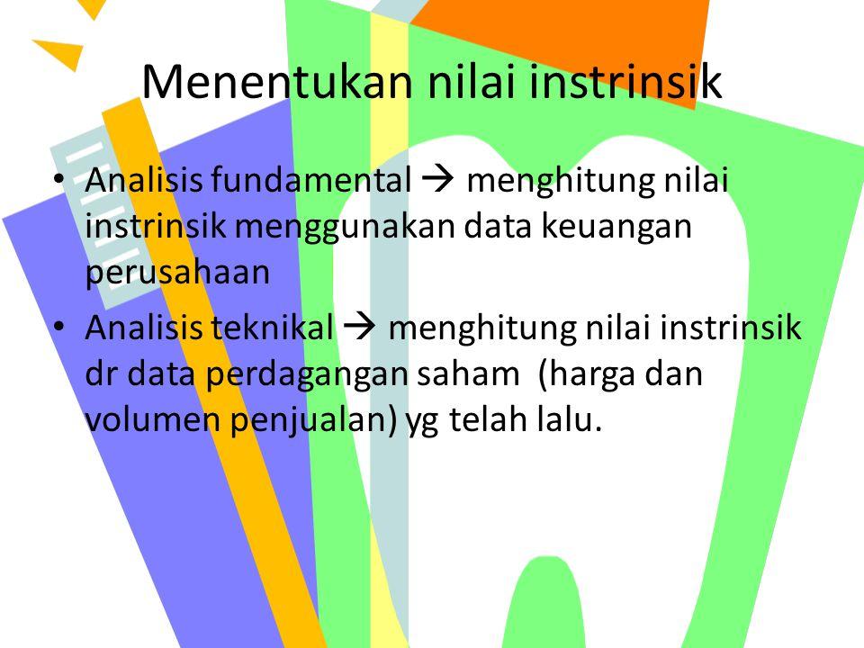 Menentukan nilai instrinsik Analisis fundamental  menghitung nilai instrinsik menggunakan data keuangan perusahaan Analisis teknikal  menghitung nil