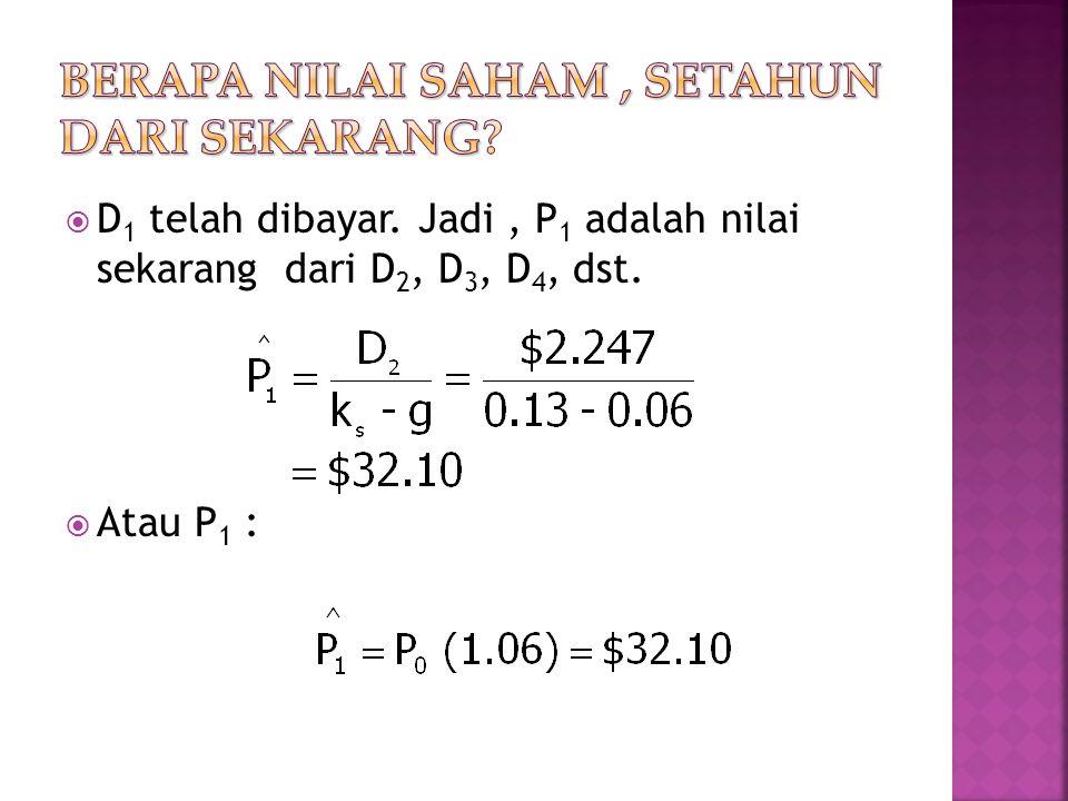  D 1 telah dibayar. Jadi, P 1 adalah nilai sekarang dari D 2, D 3, D 4, dst.  Atau P 1 :