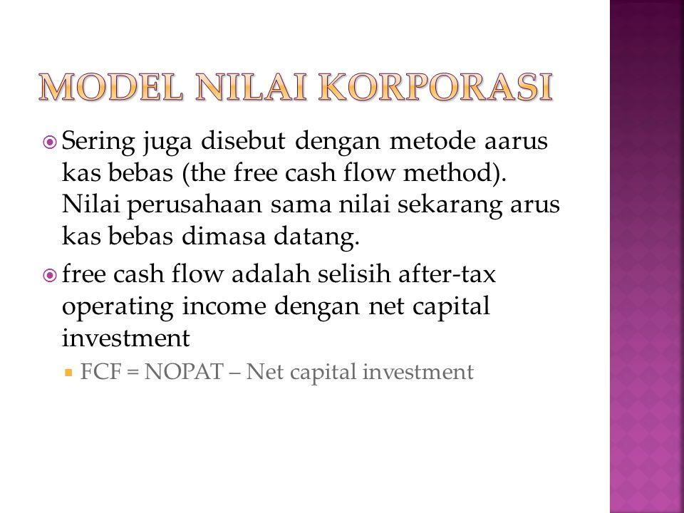  Sering juga disebut dengan metode aarus kas bebas (the free cash flow method).