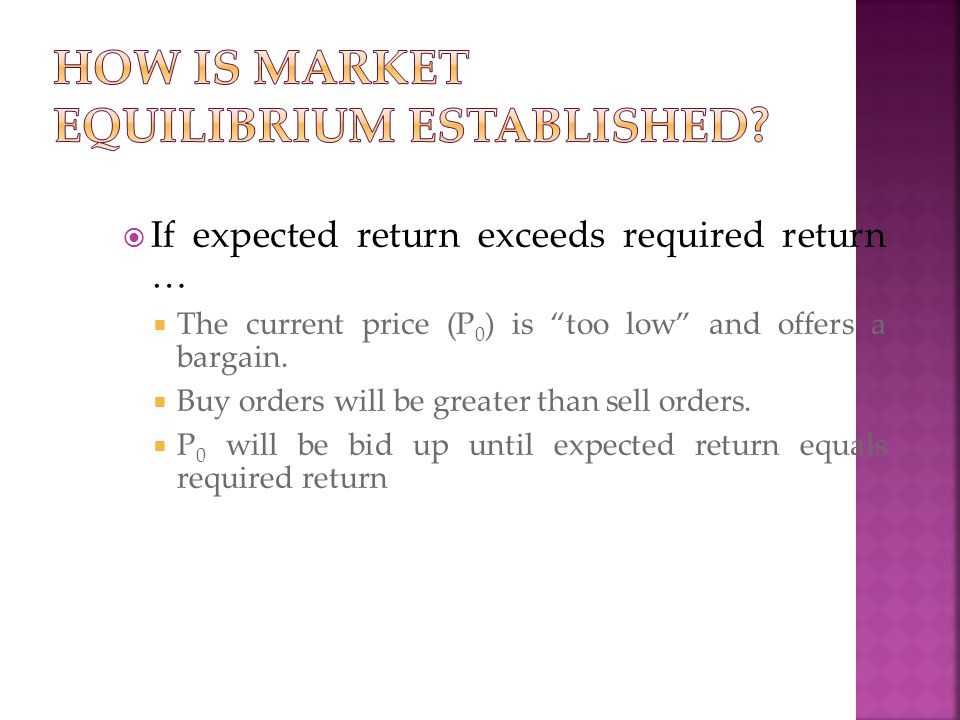 " If expected return exceeds required return …  The current price (P 0 ) is ""too low"" and offers a bargain.  Buy orders will be greater than sell or"