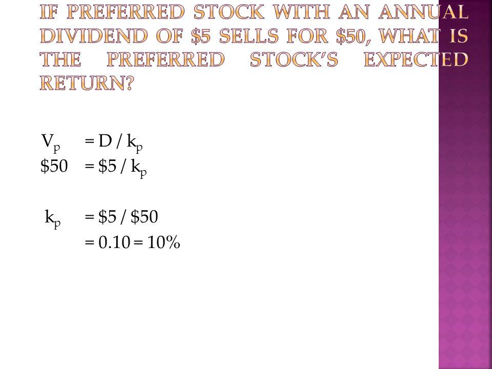 V p = D / k p $50= $5 / k p k p = $5 / $50 = 0.10 = 10%