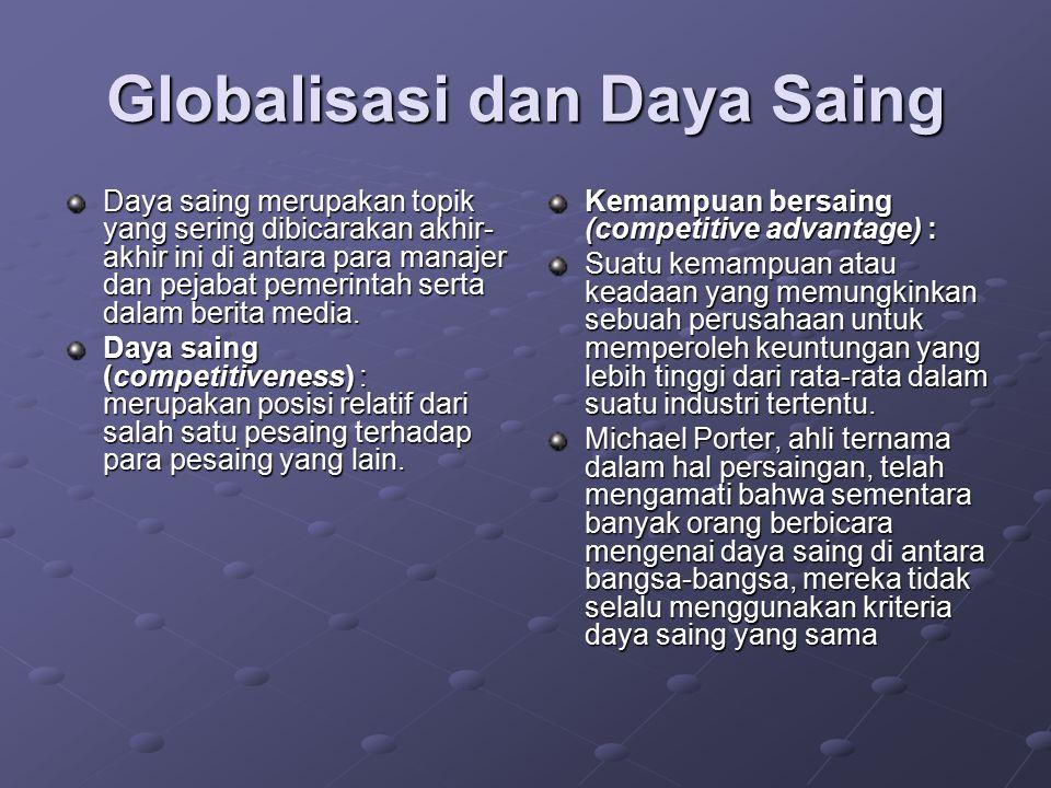 Globalisasi dan Daya Saing Daya saing merupakan topik yang sering dibicarakan akhir- akhir ini di antara para manajer dan pejabat pemerintah serta dal