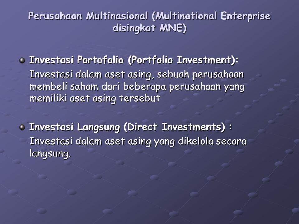 Perusahaan Multinasional (Multinational Enterprise disingkat MNE) Investasi Portofolio (Portfolio Investment): Investasi dalam aset asing, sebuah peru