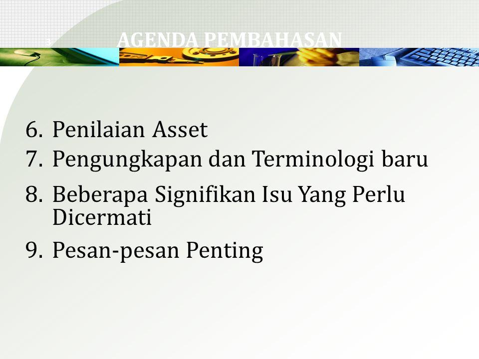3 6.Penilaian Asset 7.Pengungkapan dan Terminologi baru 8.Beberapa Signifikan Isu Yang Perlu Dicermati 9.Pesan-pesan Penting AGENDA PEMBAHASAN